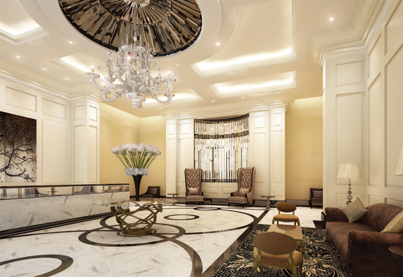 The lobby of the Trump Tower, India.