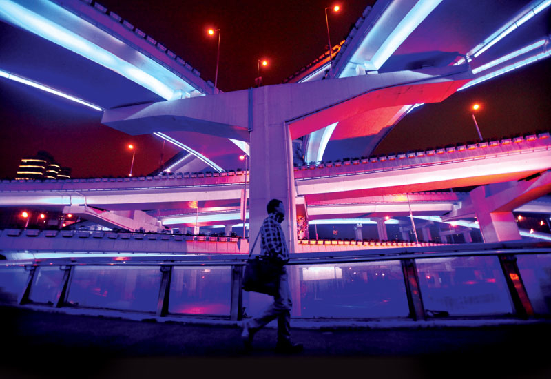 Elevated highways are illuminated by LED lights in Shanghai, China