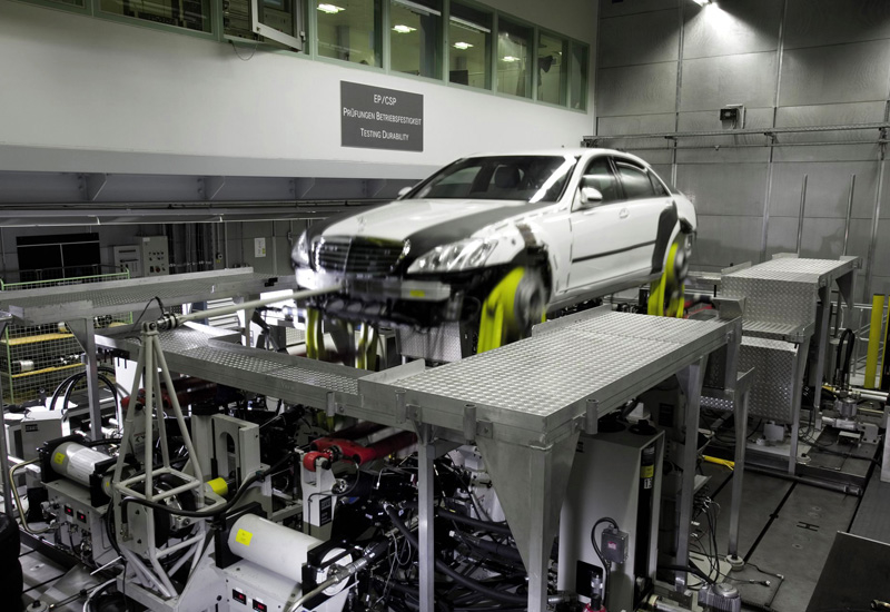 An armoured Mercedes-Benz undergoes factory testing. The Middle East is one of the largest markets for luxury and armoured vehicles.
