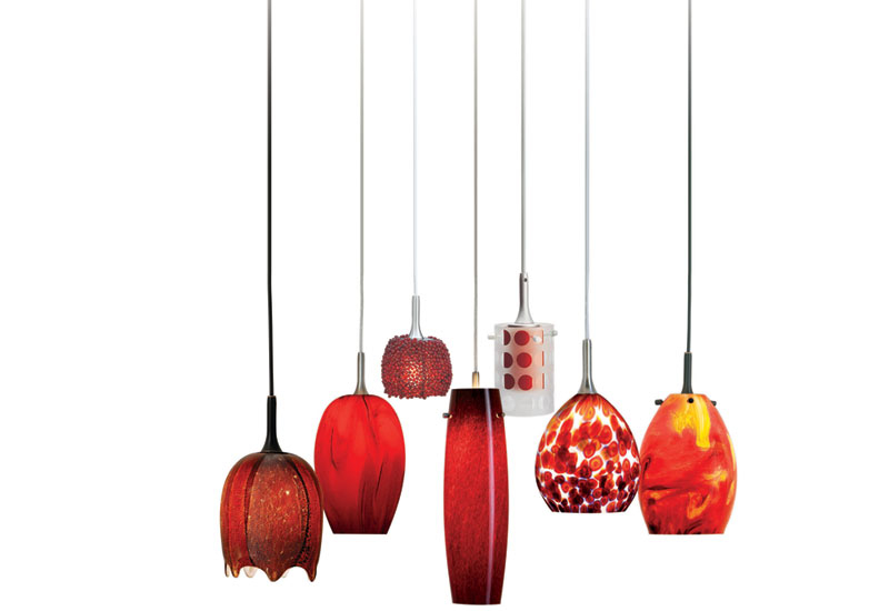 Nora Lighting has released the Radiant Reds, a series of art glass pendants in vibrant hues