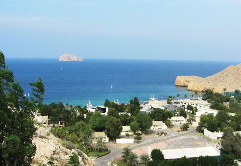 Ras Al Hamra Beach, the current PDO staff social club , north towards Jazirat al Fahl island in the Gulf of Oman.