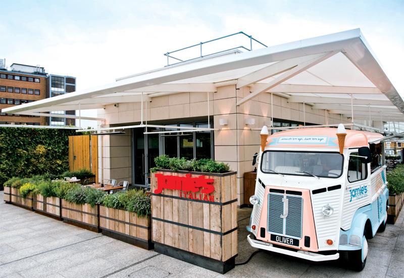 A Jamie's ice cream van greets diners.