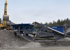 GRIND TO A CRAWL: Tracked crushing plants can improve efficiency, while gravity powered conveyers are a safe and effective way of moving the stone fro
