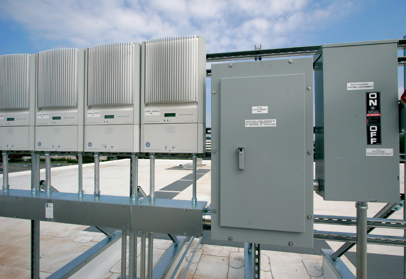 PV arrays on the roof provide on-site renewable energy