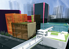 A computer-generated image of the 'glass boxes' design for HKDI.