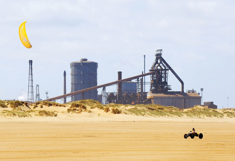 The Corus steelworks in Redcar, UK produces over 20 million tonnes of steel per year.