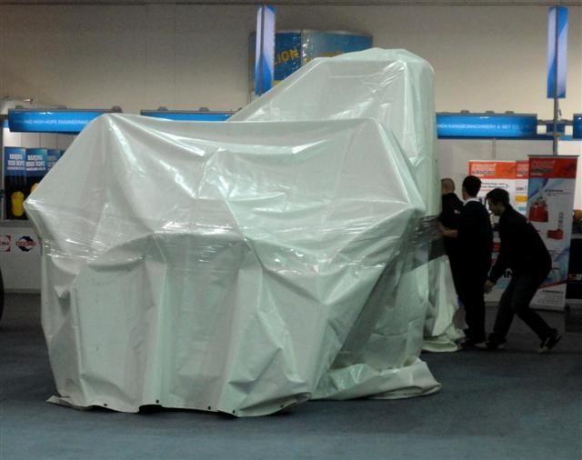Asian kit was covered up at Bauma, after protests from JCB.