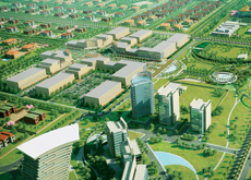 The masterplan creates a downtown area for Khalifa A City.