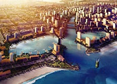 Looking to the future in Saudi Arabia: an artists? impression of the $26 billion, 168,000,000m2 King Abdullah Economic City, which will be situated on