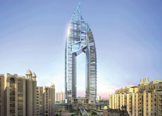 The Trump International Hotel and Tower on the Palm Jumeirah will feature 62-storey twin towers rising about the Palm monorail.