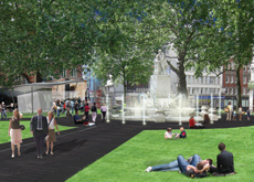 The redesign draws the eye to the famous Shakespeare fountain and statue.