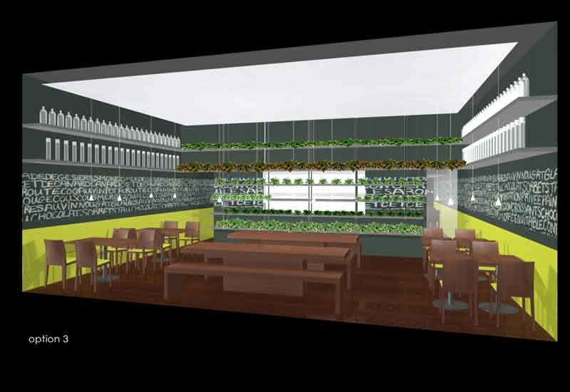 A rendering of the restaurant, designed by TKI and PS Studio