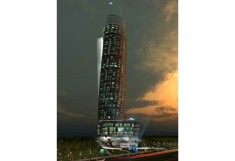 Rendering of the Regent Emirates Pearl at night.