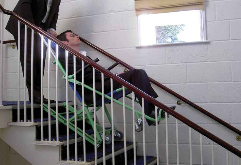 Evacusafe chairs allow one person to evacuate another, down stairs.