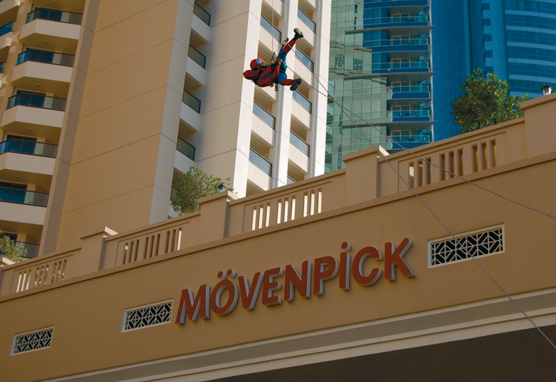 Spiderman in action at the new M?venpick Hotel at The Walk, Jumeirah Beach Residence.