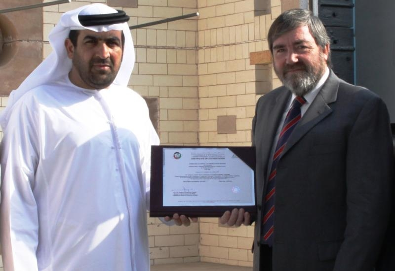 ENAS chairman Rashid Ahmed Bin Fahad presented the lab?s accreditation to Tom Bell-Wright in October