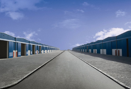 A row of warehouses at Dubai Industrial City.