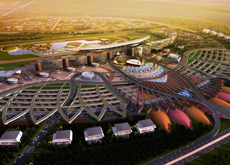 An artist's impression of the Meydan racecourse being build in Dubai.