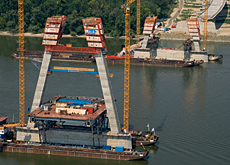 Peri's self-climbing formwork is being used on the North Danube Bridge in Budapest.