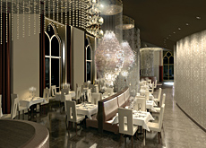 Oversized chandeliers designed by Verner Panton hang over the dining area.