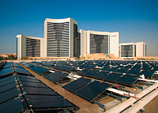 Solar panels sited on the adjacent Grand Cineplex will feed Grand Hyatt's water heating system.