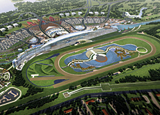 At the gallop: the new Meydan Racecourse site will incorporate a state-of-the-art dirt and turf track, a 1km-long grandstand with a capacity of 60,000