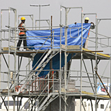 Tarpaulin was visible all over the UAE last week as heavy rain slowed down projects all over the country.