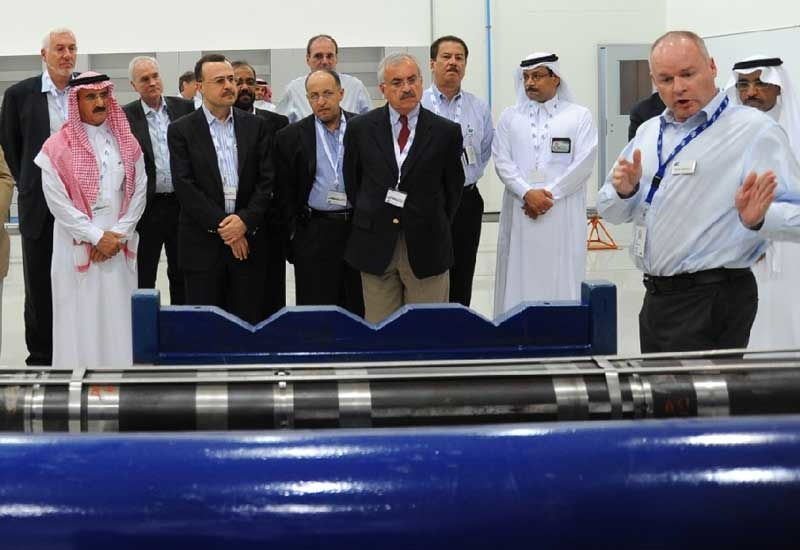 Staff and guests at the opening of the new Baker Hughes facility in Saudi Arabia.