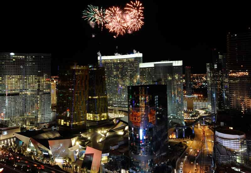 Fireworks explode during the grand opening of the Aria Resort & Casino at CityCenter December 16, 2009 in Las Vegas, Nevada. (Ethan Miller/Getty Image