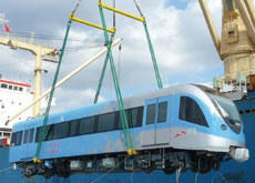 ASHORE FOR THE FIRST TIME: the Japanese-made trains for the Dubai Metro arrive in Dubai.