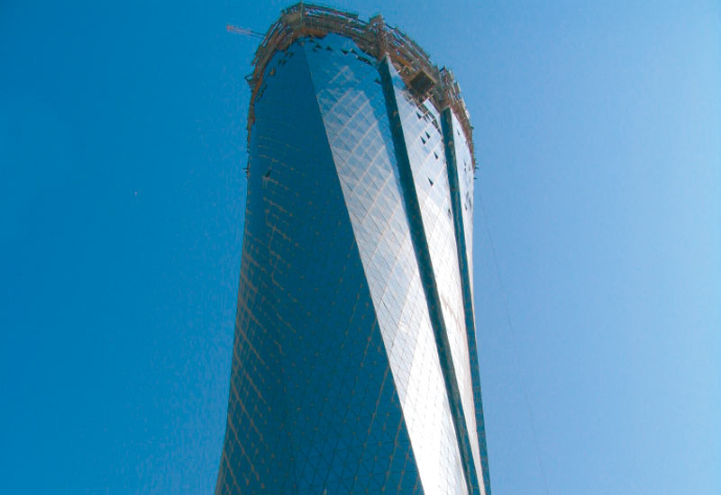 Triangular glass panels were used for the cladding of Al bidda tower in Doha, Qatar.