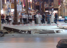 Debris litter the floor of Ibn Battuta mall following the collapse of decorative panels. Nakheel is investigating the incident.