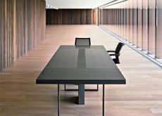 Buro 45 chooses dark woods for these rectangular conference tables.