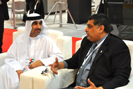 Ministry of Economy's Yousuf Ali Hassan chats with Milk's Saadullah Khan.