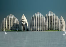 The buildings are designed to appear as boats