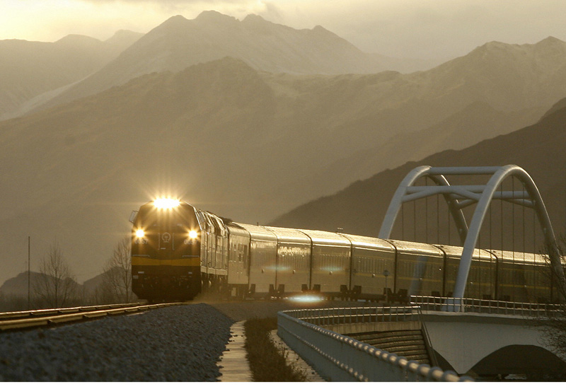 A train leaves the Tibetan capital Lhasa on its way to Beijing along the world's highest railway line (PETER PARKS/AFP/Getty Images).