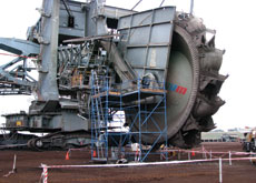 Bucket wheel is more then 200m long and 55m high ? That's as tall as a 16-floor tower.