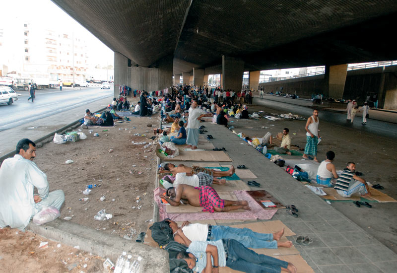 Hundreds of runaway migrant workers who have spent months, and in some cases years, living rough under the sitten bridge in downtown Jeddah.