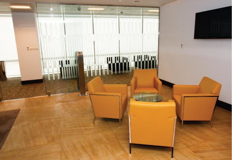 Feature furniture introduces a splash of modernity in the reception areas.