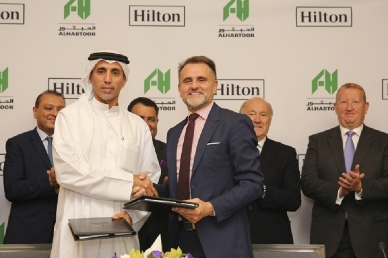 Mohammed Al Habtoor and Hilton's Ian Carter at Tuesday's signing