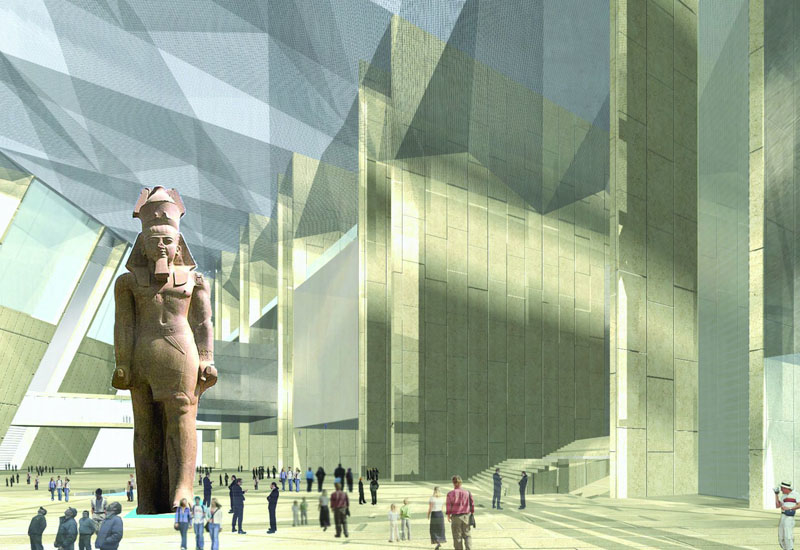 The museum is located 2km from the Giza pyramids and will occupy 50ha of land [representational rendering].