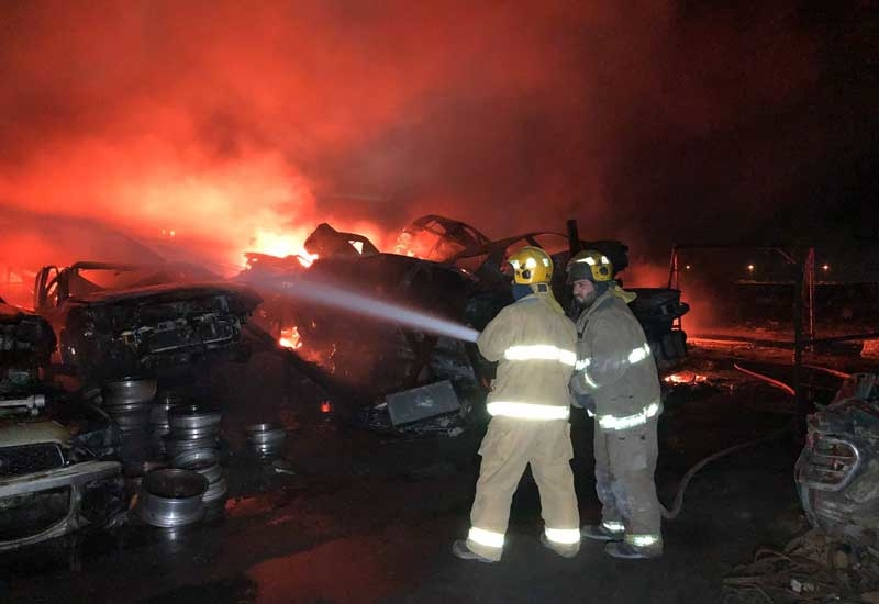 Seven teams were deployed to put out the fire at Kuwait's Al-Naeem Junkyard [image: KUNA].