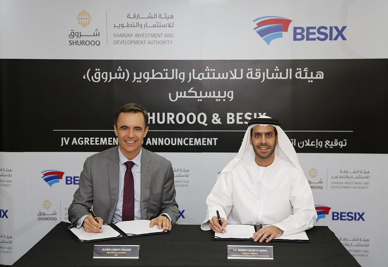 Olivier Crasson, executive vice president of BESIX Middle East, and Shurooq executive chairman HE Marwan bin Jassim Al Sarkal