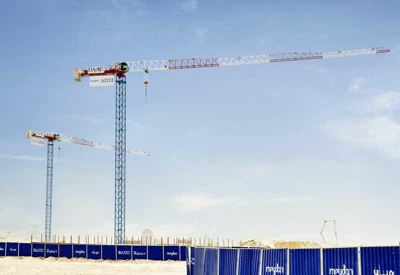 Two Raimondi cranes are helping Dar Al Adham Construction build Azizi Riviera in Meydan, Dubai [image: Raimondi].