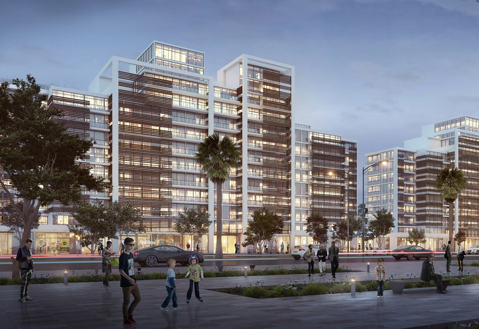 A rendering of The Misk Apartments within Arada's Aljada megaproject in Sharjah.