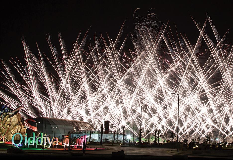 Fireworks mark the launch of Qiddiya [image: Executive Visions].