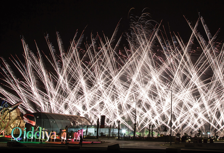 Fireworks mark the launch of Qiddiya [image: Executive Visions].