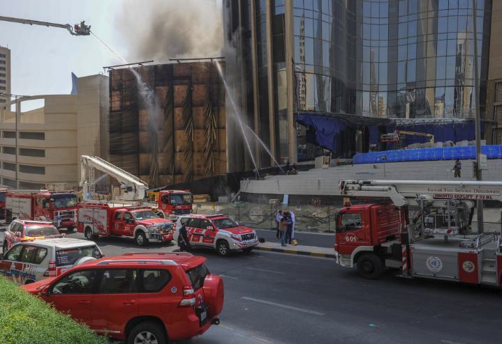 National Bank of Kuwait said the fire at construction site of its new HQ has been put out [image: KUNA].