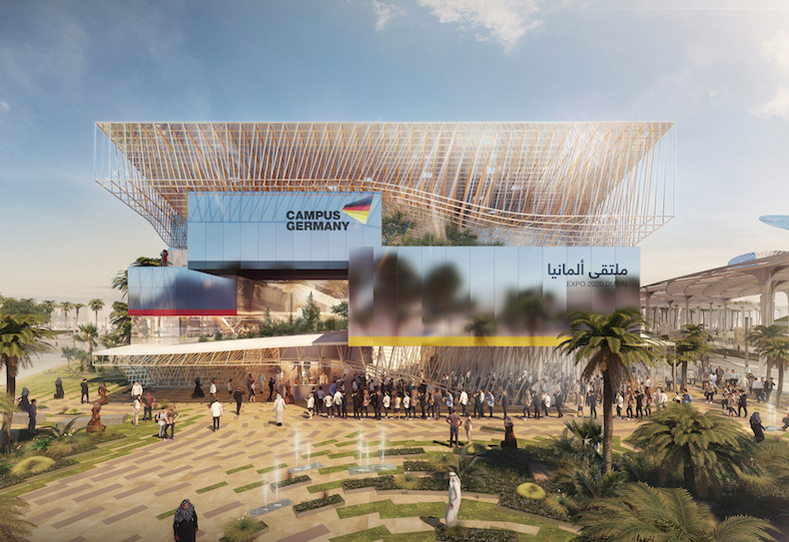 Campus Germany will be located close to UAE's falcon-inspired pavilion.