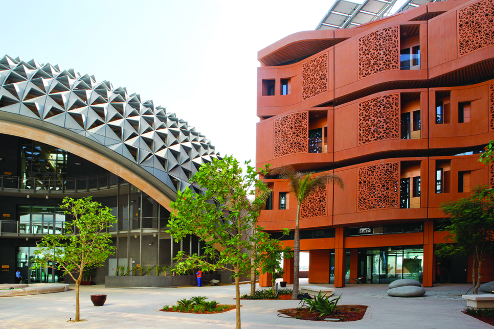 Masdar City is an Abu Dhabi-based example of sustainable design, architecture, and construction for the world.